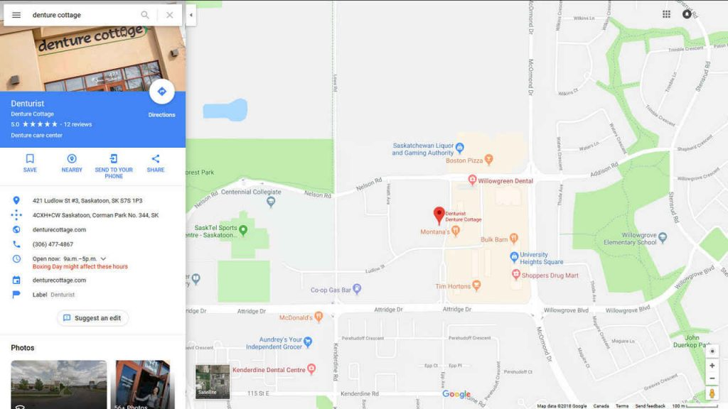 Google Map Location - Denturist Saskatoon