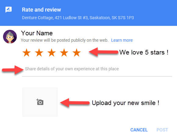 Rate & Review Window - Denture Cottage SK
